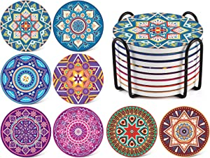 LIFVER Coaster for Drinks, Set of 8 with Holder, Ceramic Mandala Style Stone Coasters with Cork Base for Housewarming Gift