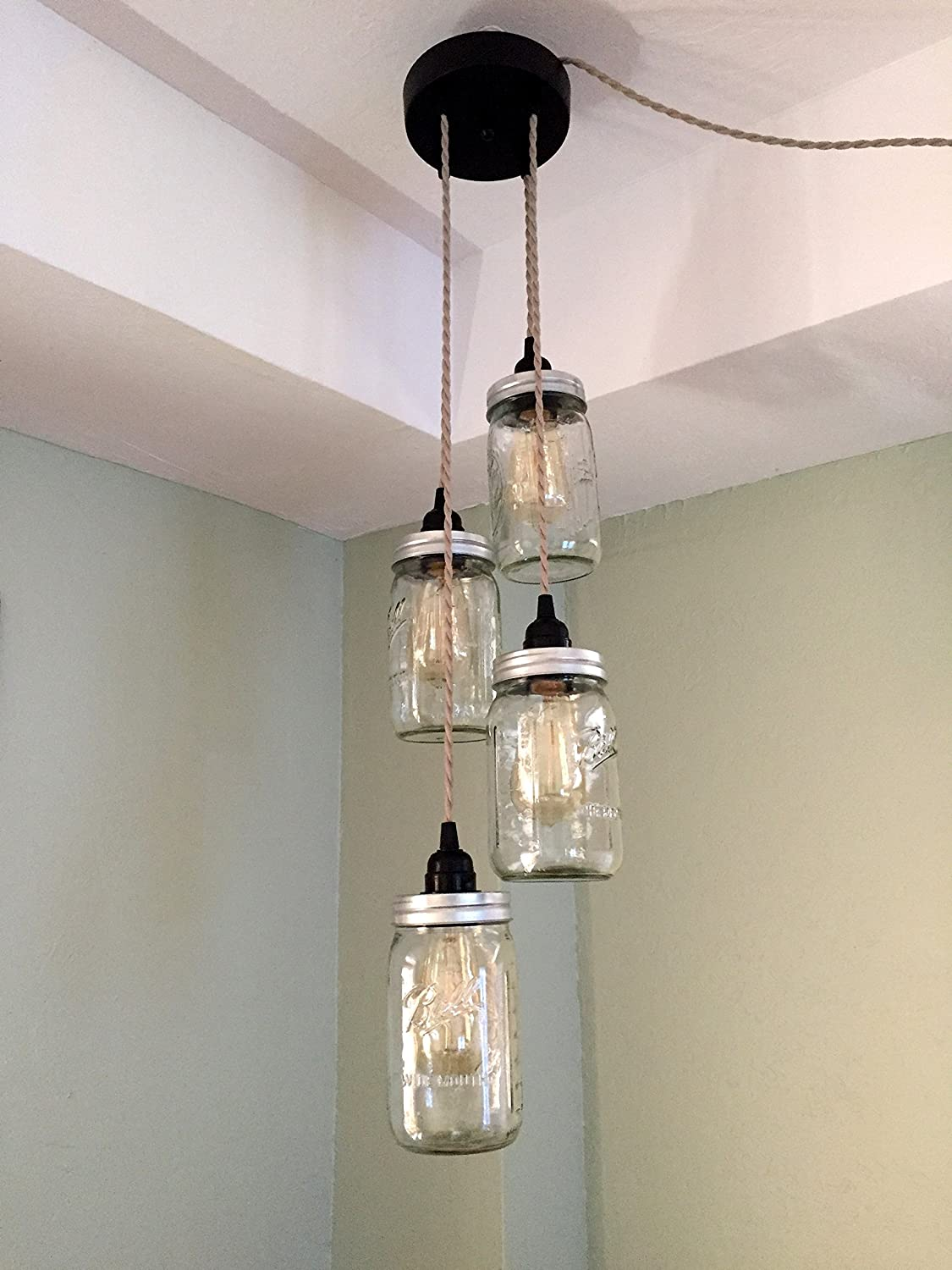 Mason Jar Chandelier Swag Light – NO Hard Wiring Just Hang it up and Plug it in Sand Cord