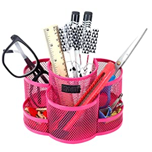 Rotating Fuschia Metal Mesh 7-Compartment Desktop Office Supplies Storage Organizer Caddy