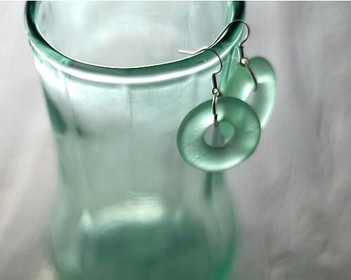 Glassoholics mujeres Reciclados pendientes botella Cola - Mar del vidrio verde Botella Danglers