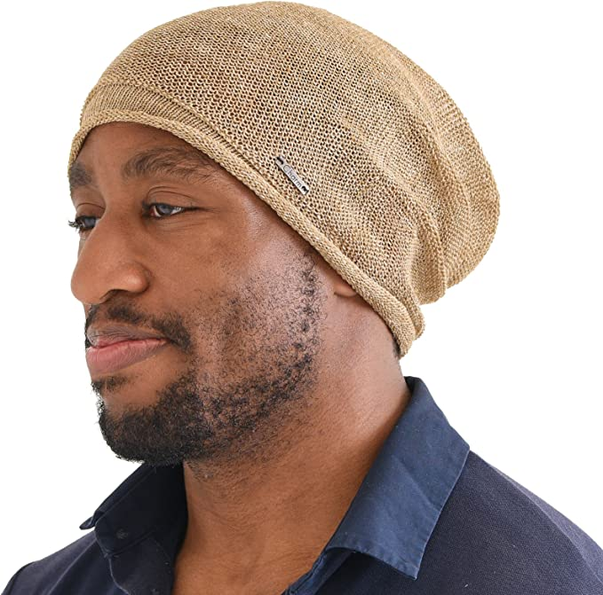 Cooling beige baggy hot weather beanie with rolled edge