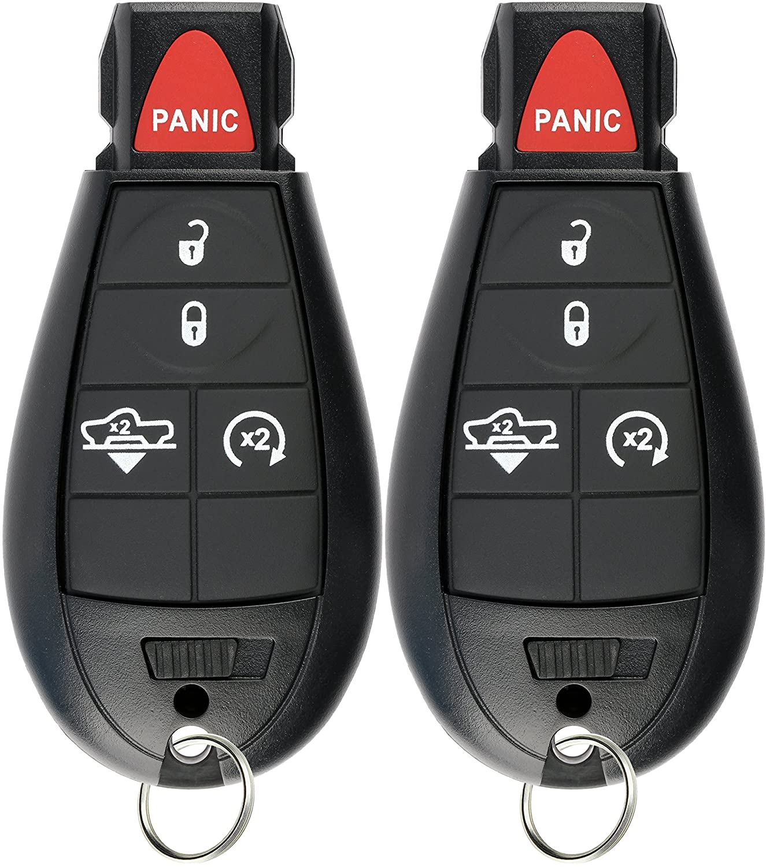Pack of 2 KeylessOption Keyless Entry Remote Car Key Fob Alarm for Ram 1500 2500 3500 Air Suspension GQ4-53T