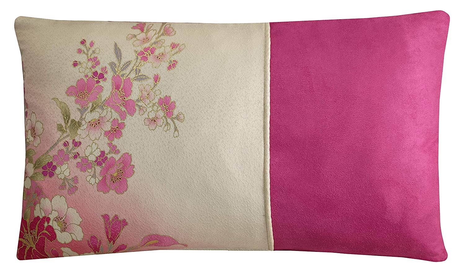 Floral Lumbar Cushion Cerise Pink And White Pillow Cover 30x50cm Amazon Co Uk Handmade