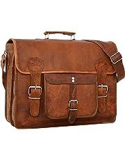 Gusti Shoulder Bag Leather Leon Briefcase Laptop Bag Brown