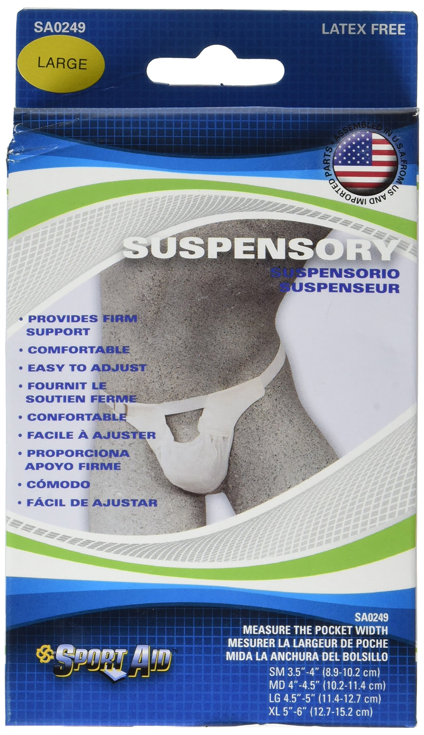 SportAid Suspensory with Elastic Waist Band, Large