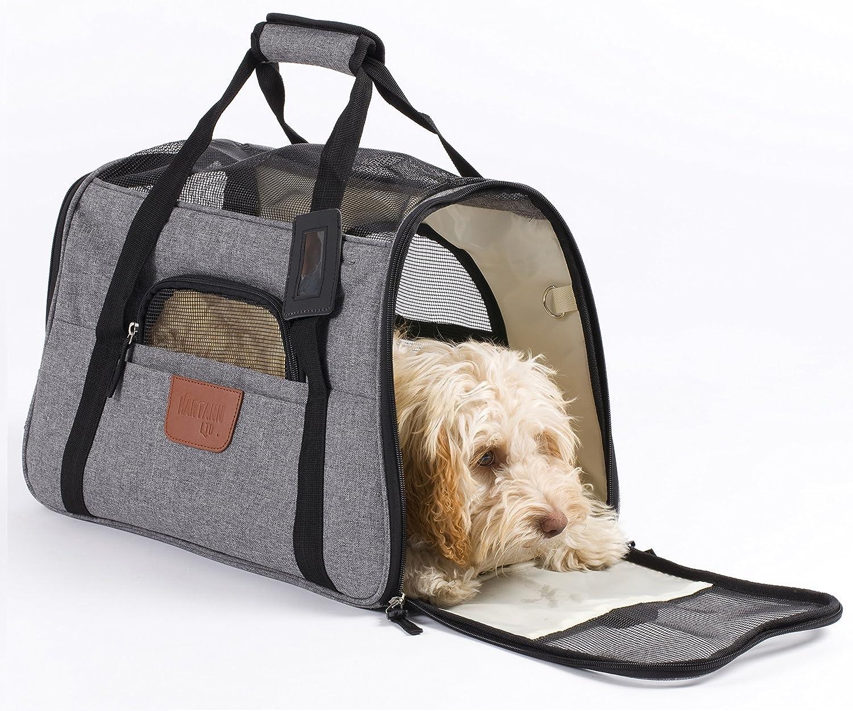 Hartann Pet Carrier DogCatPuppyRabbit Lightweight Soft Sided Folding Grey with Fleece Bed
