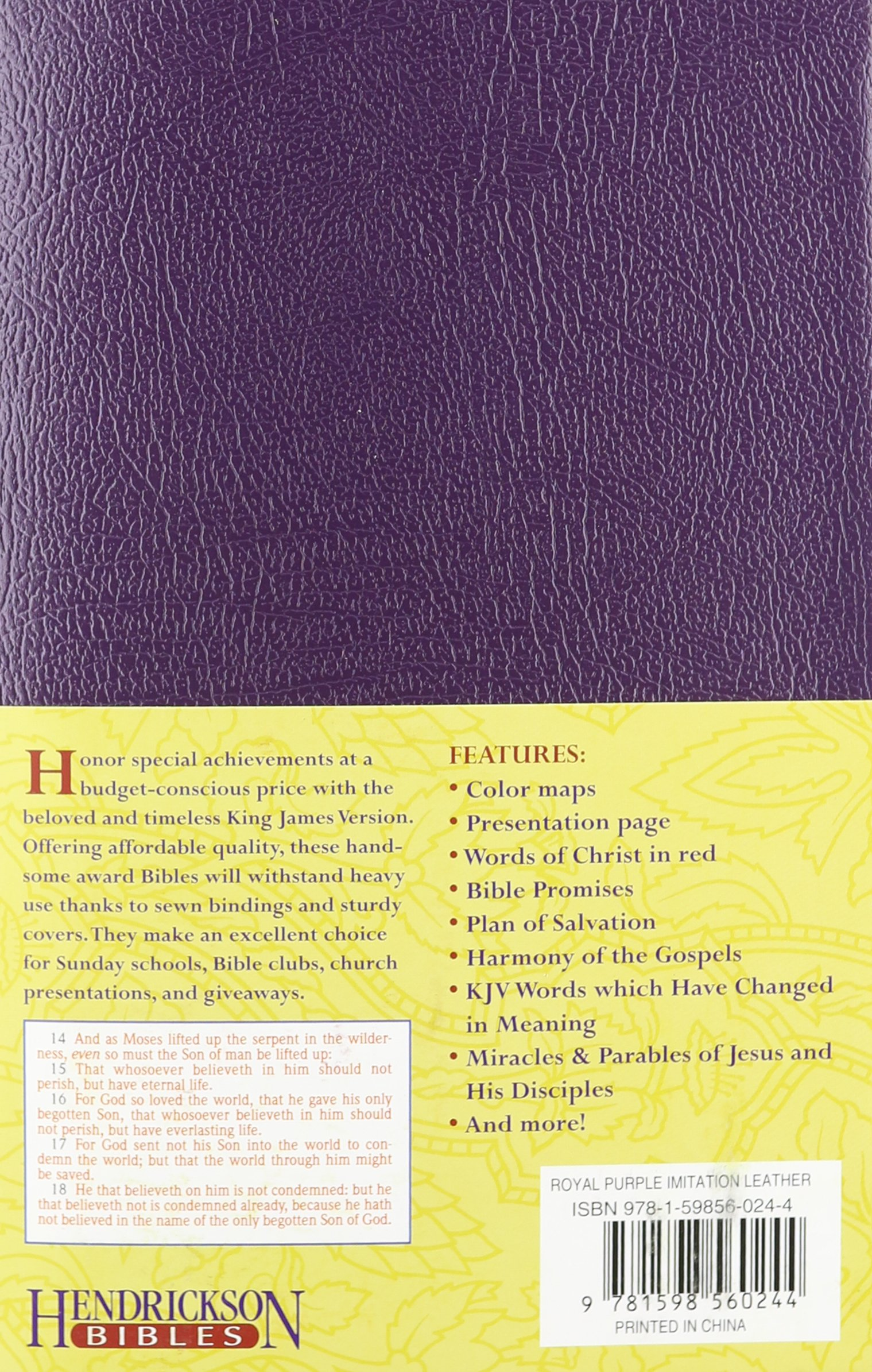 Kjv Gift Award Bible Royal Purple Hendrickson Publishers