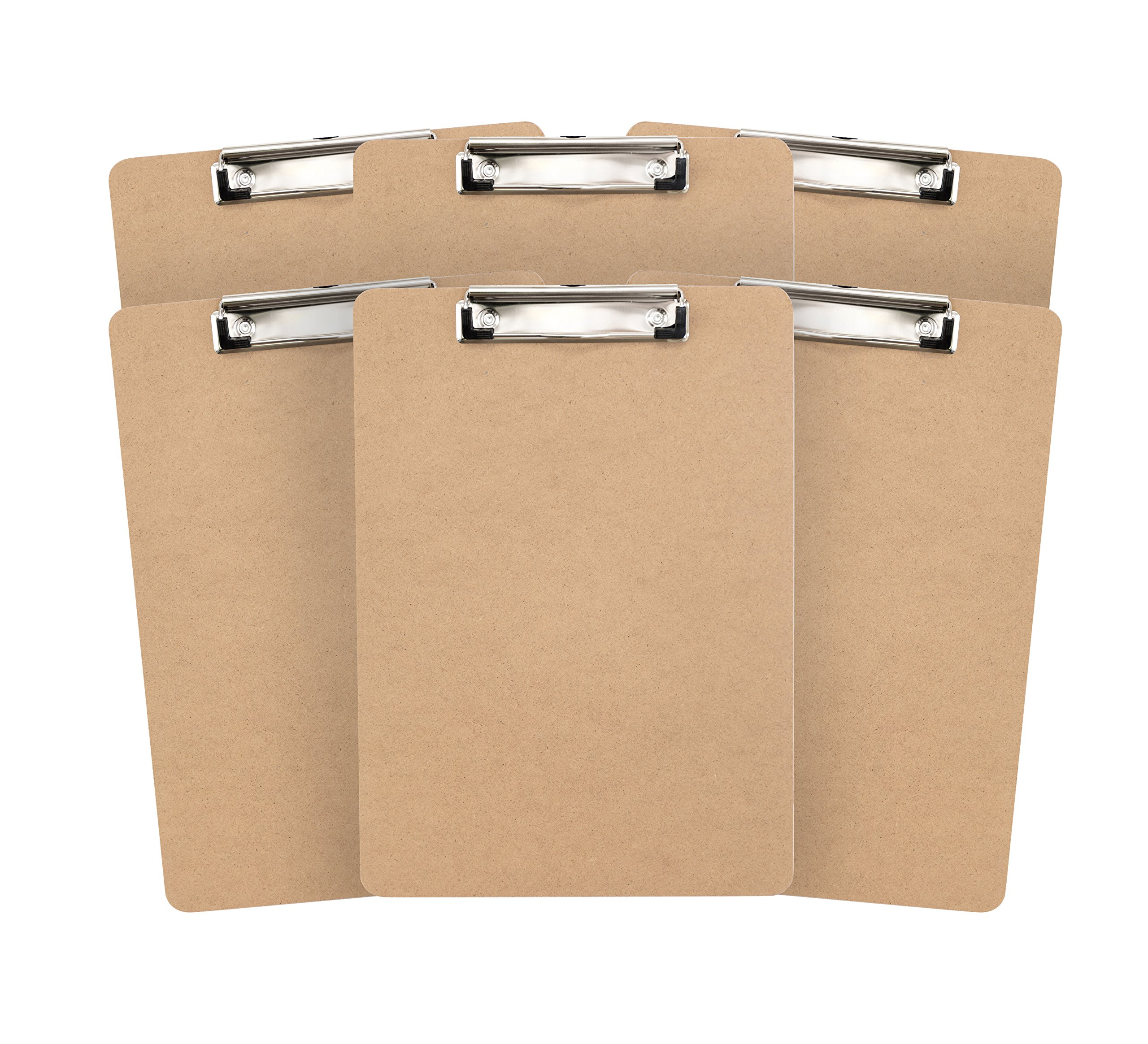 6 Hardboard Clipboards, Low Profile Clip, Design for classroom and office use, 6 Clipboards