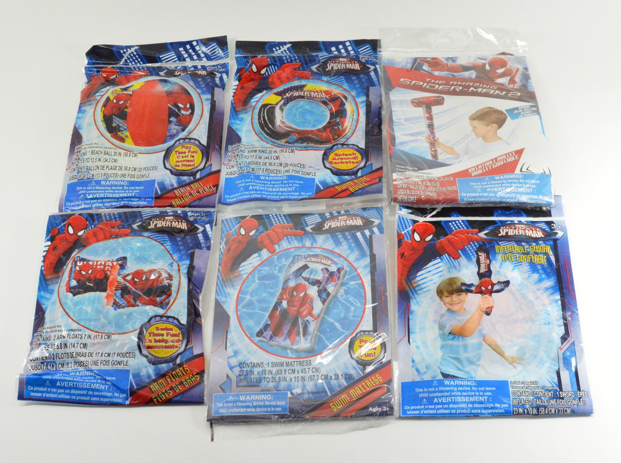Marvel Spider-Man Inflatable Swim Summer Fun Package Deal (Floaties, Beach Ball, Swim Ring, Mallet, Sword, Raft)