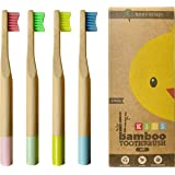 EcoFrenzy - Kids Bamboo Toothbrush - Child Size Soft BPA Free Color Safe Bristles (4 Pack)