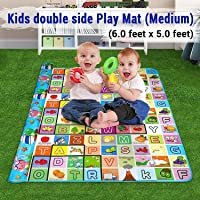 Sampri Double Sided Water Proof Baby Mat Kids Infant Crawling Play Mat Carpet Baby Gym Baby Play & Crawl Mat(Medium Size - 6 Feet X 5 Feet) Colors and Designs May Very (Assorted Colors and Design)