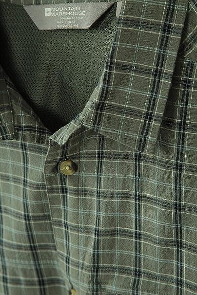 Mountain Warehouse Holiday Camisa de algodón para Hombre - Camisa de Verano Cuidado fácil, Camisa Informal Ligera, Parte Superior de Forro de Malla - ...