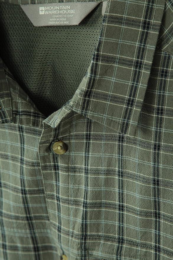 Mountain Warehouse Camisa de algod/ón Holiday para Mujer Caminar Camisa Ligera de Verano para Mujer Top de Manga Corta para Mujer para Viajar Camisa Informal