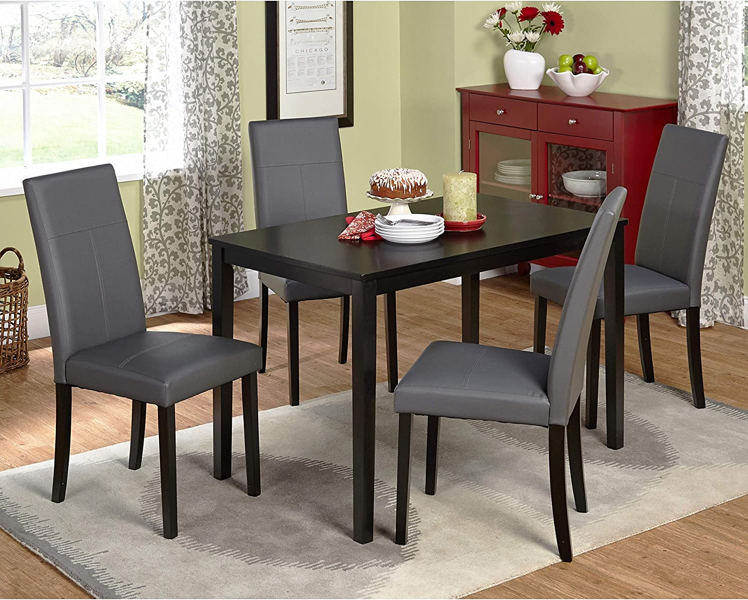Dining Tables Set This 5 Piece Dining Room Furniture Set Is Elegant for Any Dining Room Area, Dining Chairs Are Very Comfortable and Set Is Made From Solid Wood.