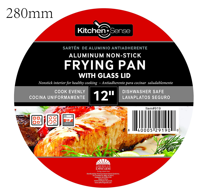 Amazon.com: Kitchen Sense Heavy Duty Non-Stick Fry Pan with Glass Lid: Kitchen & Dining