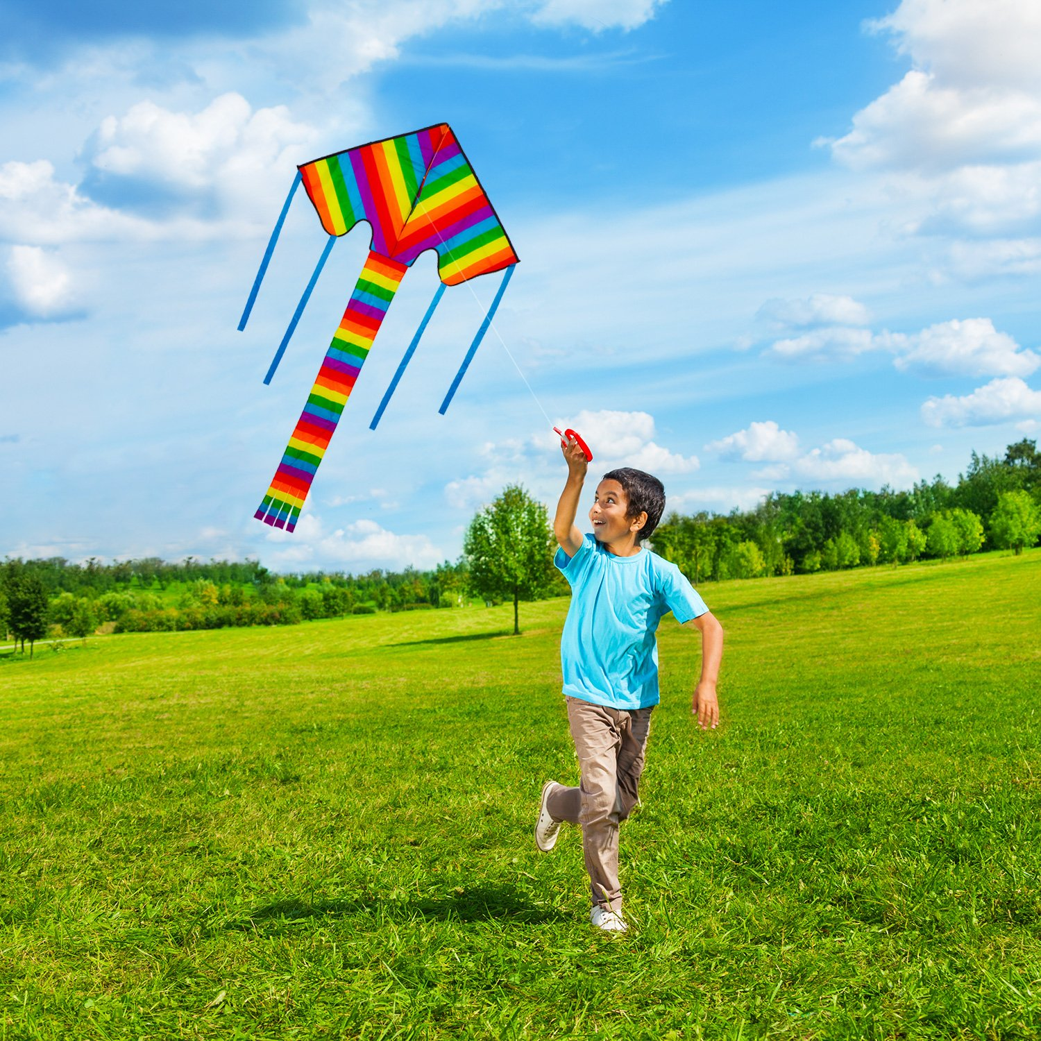 Beautiful Rainbow Kite For Kids And Adults (Large) - Bright Colours That Really POP! Very Easy To Fly - Suitable For Beginners, Boys, Girls, Children and Adults. Outdoor Games Activities and Summer Fun. Comes With Lifetime Warranty and Mone