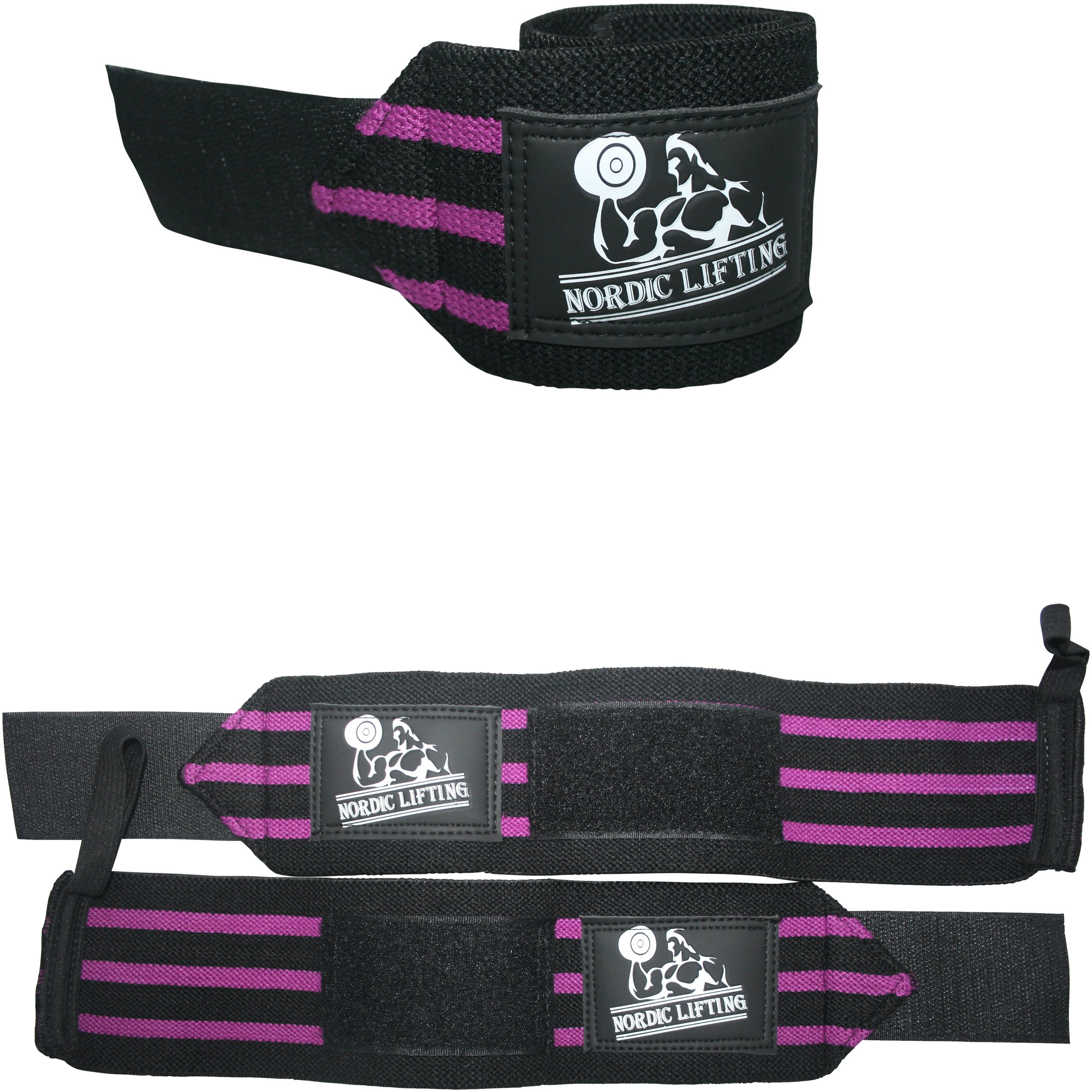 Wrist Wraps (1 Pair/2 Wraps) for Weightlifting/Cross Training/Powerlifting/Bodybuilding -Women & Men-Premium Quality Equipment & Accessories Avoid Injury During Weight Lifting-(Purple)-1 Year Warranty by Nordic Lifting