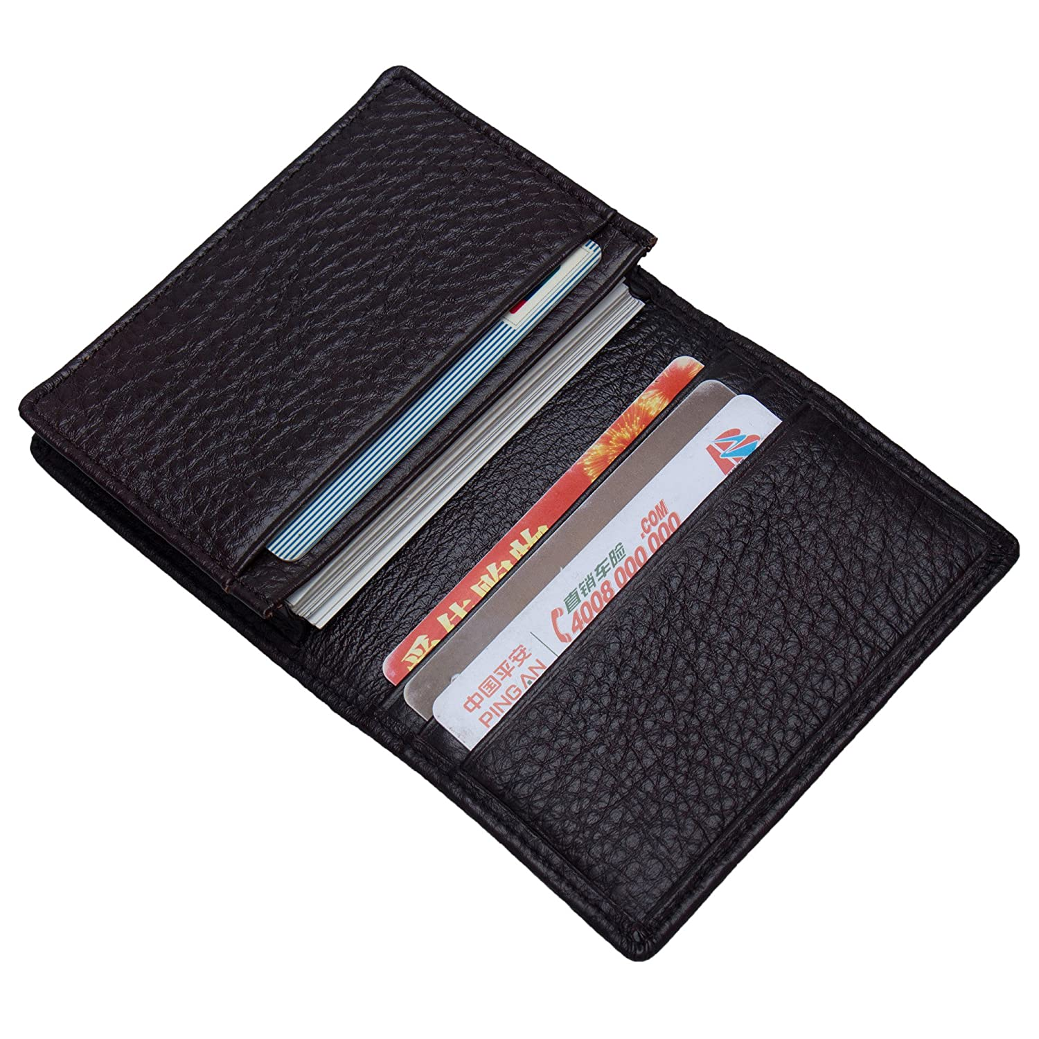 ZONGSHU Business Card Holder Genuine Leather Name Card Case Credit Card Wallet RFID Blocking