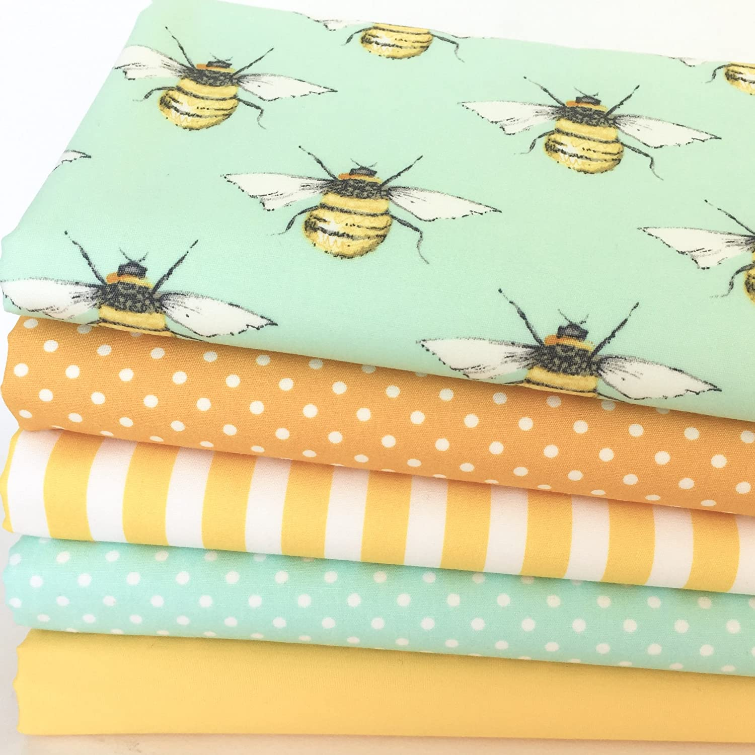 Always Knitting and Sewing - 'Busy Bees' 5 piece, fat quarter bundle, 100% cotton fabric for sewing & patchwork