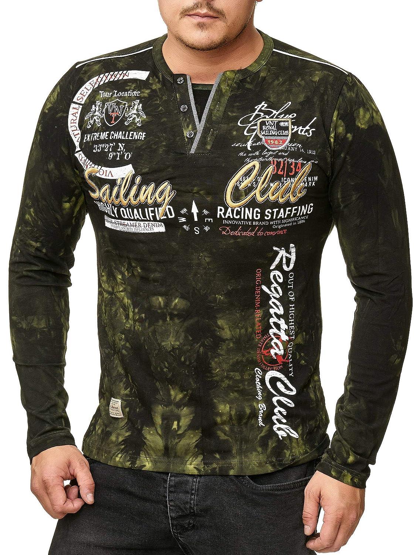 Herren Verwaschen Longshirt Sweatshirt Mit Langen Rmeln Sailing Mooi Printing Premium Sweater Top Club Camp Vlnt Design Bekleidung