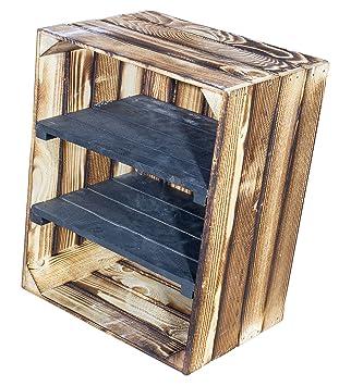 Juego de 2 flambierte Caja de madera con tablas Central 2 en Negro – Horizontal de