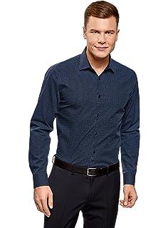 oodji Ultra Hombre Camisa Entallada de Punto, Azul, 52-54: Amazon.es: Ropa y accesorios