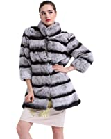 TOPFUR Women's Overcoat Whole Chinchilla Rabbit Fur Stand Collar Outerwear