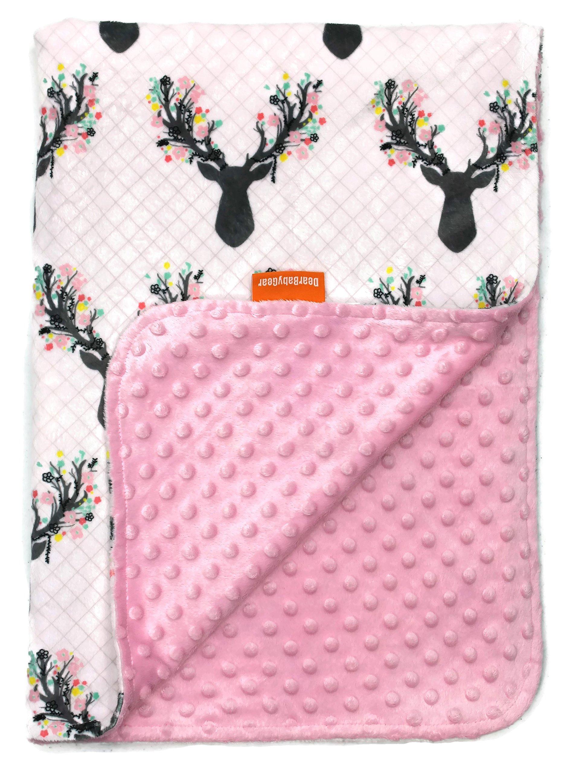 Dear Baby Gear Deluxe Baby Blankets, Custom Minky Print Antler Flowers Antler Flowers, Pink Minky Dot by Dear Baby Gear
