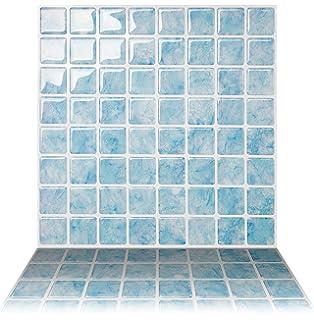 Tic Tac Tiles Anti Mold Peel And Stick Wall Tile In Vetro Aqua 5