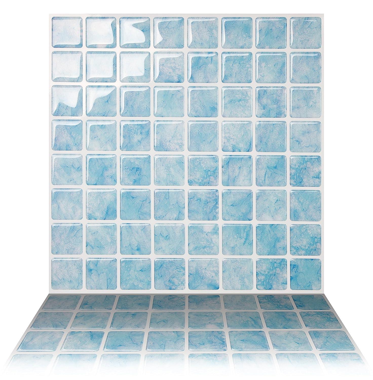Tic Tac Tiles Anti-Mold Peel and Stick Wall Tile in Vetro Aqua (5 Tiles) AHN-SQS01