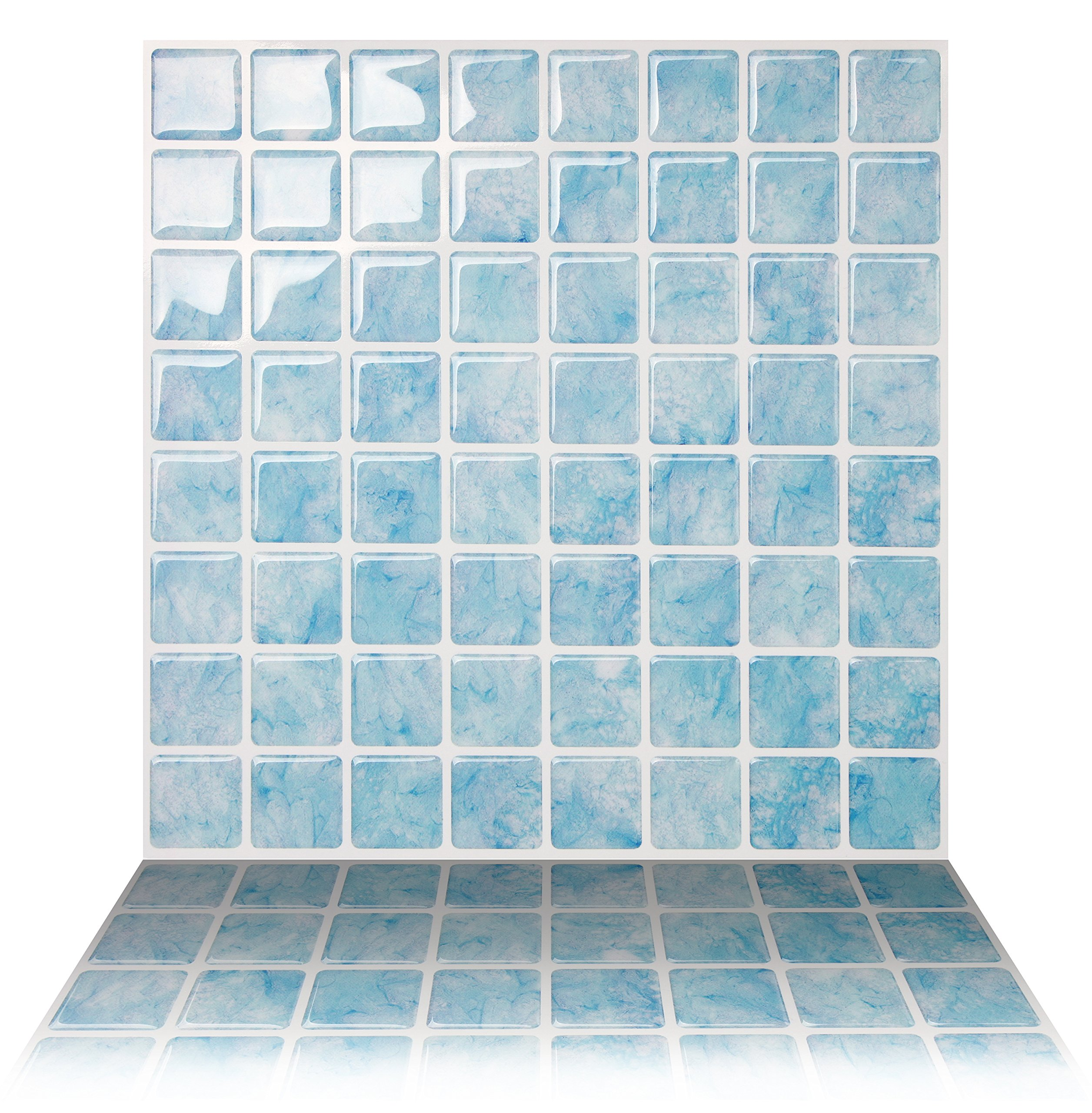 Tic Tac Tiles 10-Sheet Peel and Stick Self Adhesive Removable Stick On Kitchen Backsplash Bathroom 3D Wall Sticker Wallpaper Tiles in Vetro Aqua by Tic Tac Tiles