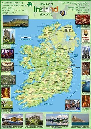 Irland Karte.Karte Poster Von Irland Papier Laminiert A1 Farblos