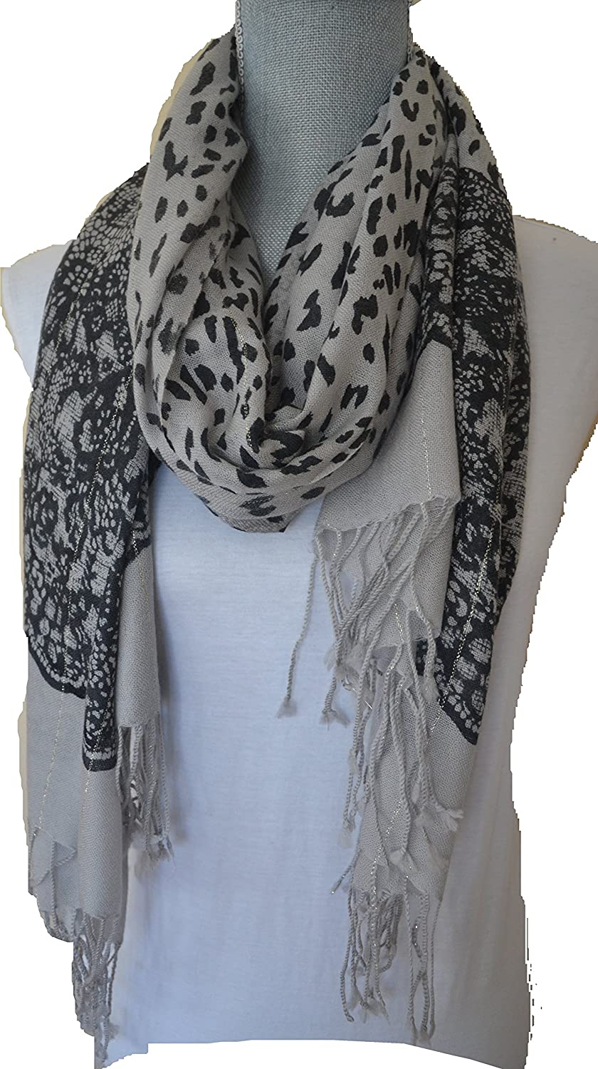 Fashionable Pashmina Wool Scarf - Black Animal Prints with Thin Golden Thread