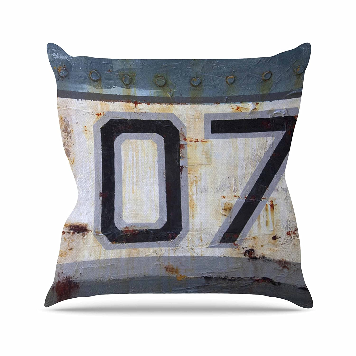 Kess InHouse Steve Dix Decommissioned Blue White Throw Pillow 26 by 26