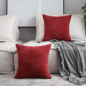 HOME BRILLIANT Decor Super Soft Plush Corduroy Striped Throw Pillow Cushion Covers for Sofa Couch Bed, Set of 2, 18 x 18 Inch (45x45), Dark Red