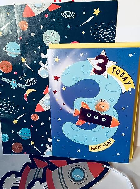 Rocketship - Tarjeta de felicitación de cumpleaños de 3 años ...
