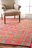 """Traditional Vintage Hannah Sunny Token Orange Area Rugs, 5 Feet by 7 Feet 5 Inches (5' x 7' 5"""")"""