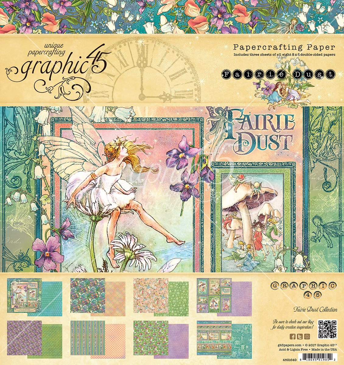 Graphic 45 Fairie Dust cuscino 20,3 x 20,3 cm, carta,, 21.6 x 20.4 x 0.6 cm 4501640
