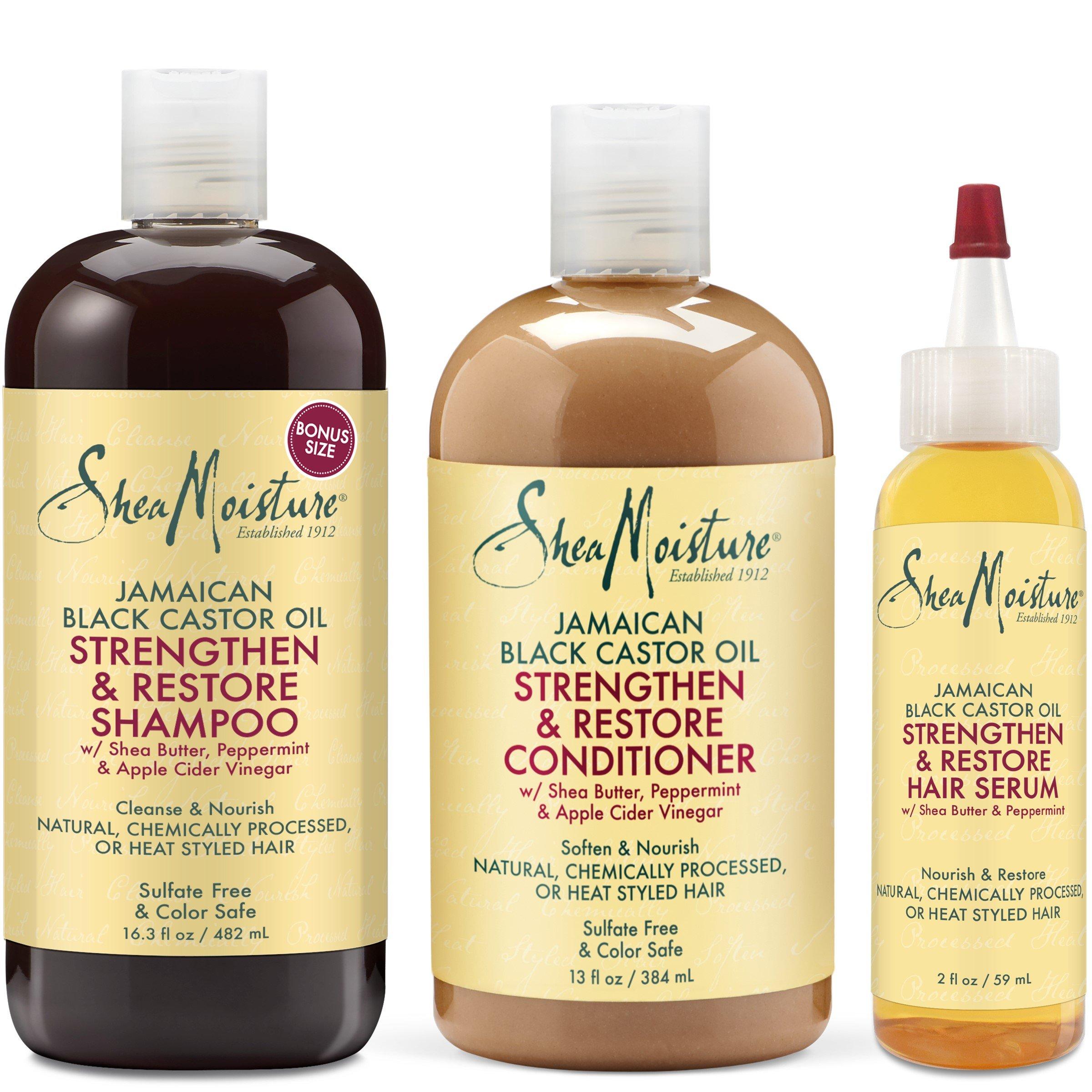 Shea Moisture Jamaican Black Castor Oil Strengthen Grow & Restore Combination Pack, Shampoo 16.3 Ounce | Conditioner 13 Ounce | Hair Serum 2 Ounce by Shea Moisture