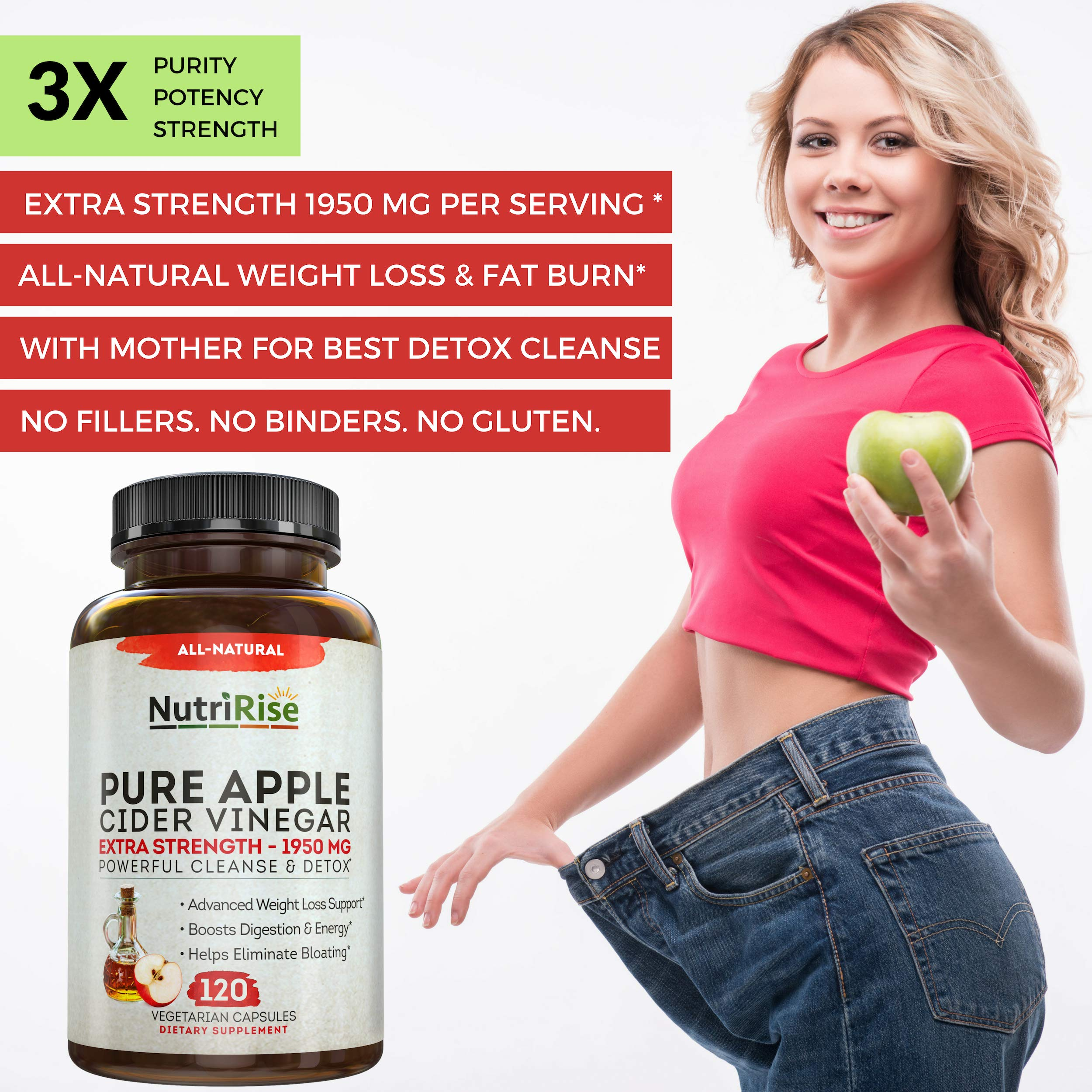 Apple Cider Vinegar Capsules for Weight Loss & Cleanse - 100% Pure Extra Strength 1950mg - 120 Natural Diet Pills for Women & Men for Bloating & Constipation Relief, Digestion & Energy Boost by NutriRise (Image #3)