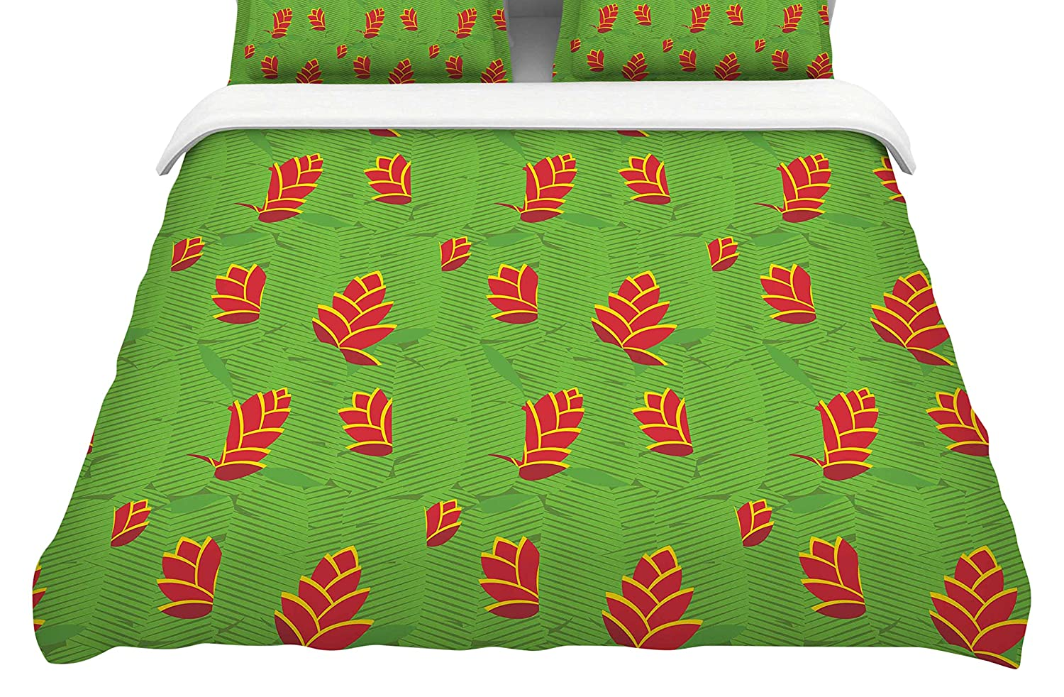 Kess InHouse Yenty Jap Heliconia Green Red Featherweight Queen Duvet Cover 88 x 88,