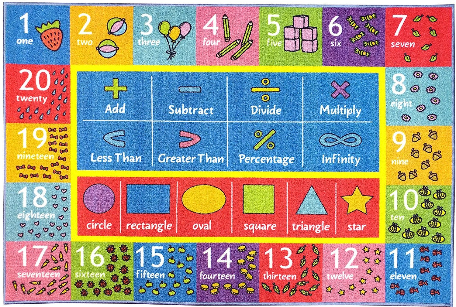 KC Cubs Playtime Collection Math Symbols, Numbers and Shapes Educational Learning Area Rug Carpet for Kids and Children Bedroom and Playroom (5' 0'' x 6' 6'')