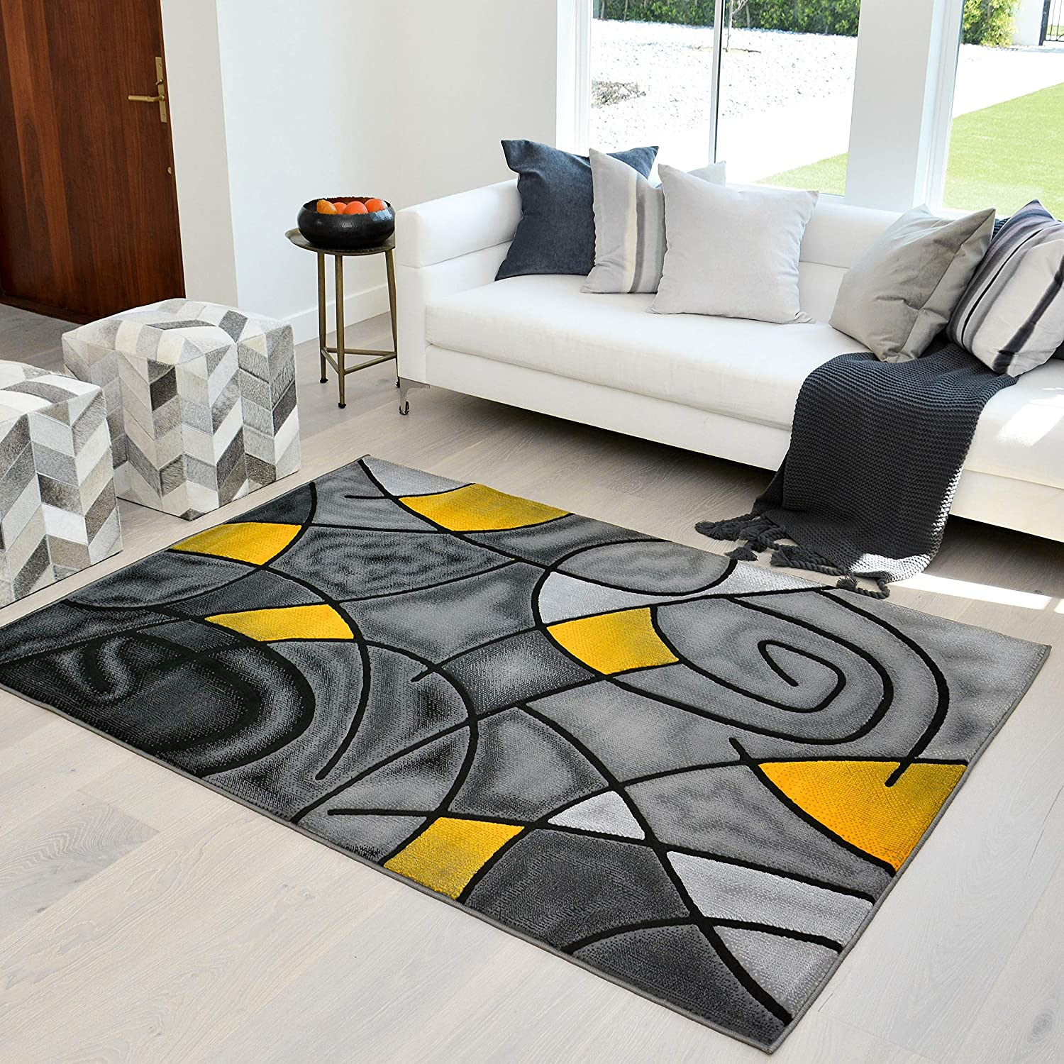 Amazon Com Hr Yellow Grey Silver Black Abstract Area Rug Modern Contemporary Circles And Wave Design Pattern 5 X 7 Home Kitchen