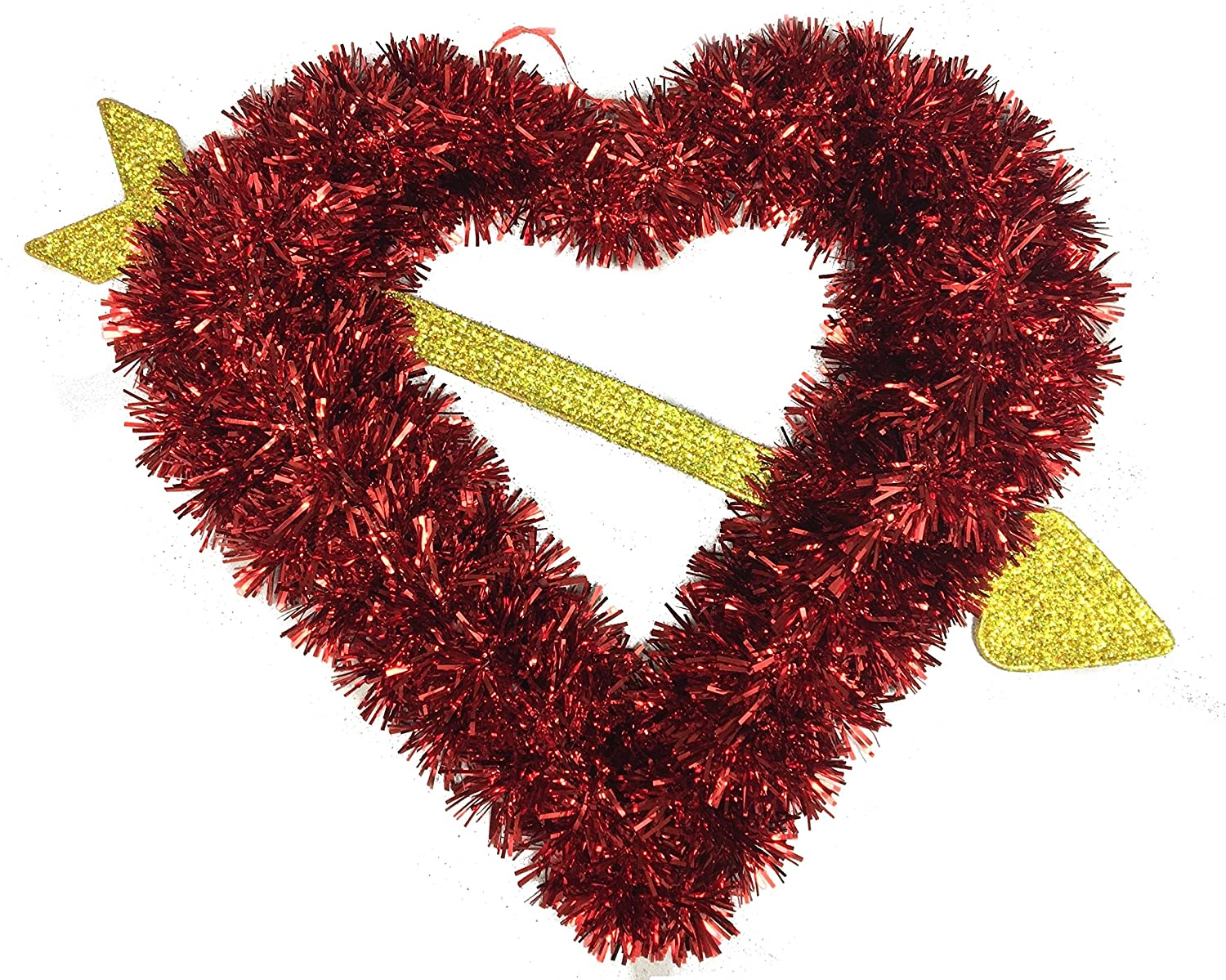 Amazon Com Red Tinsel Heart With Cupid Arrow Valentines Day Hanging Wall Home Decoration Home Kitchen