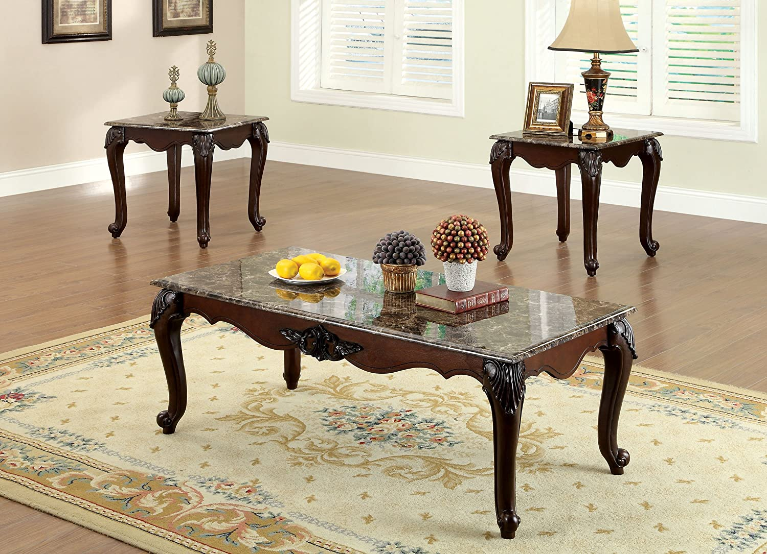 amazoncom furniture of america margaux 3piece french style accent table set with faux marble tops dark cherry finish kitchen u0026 dining