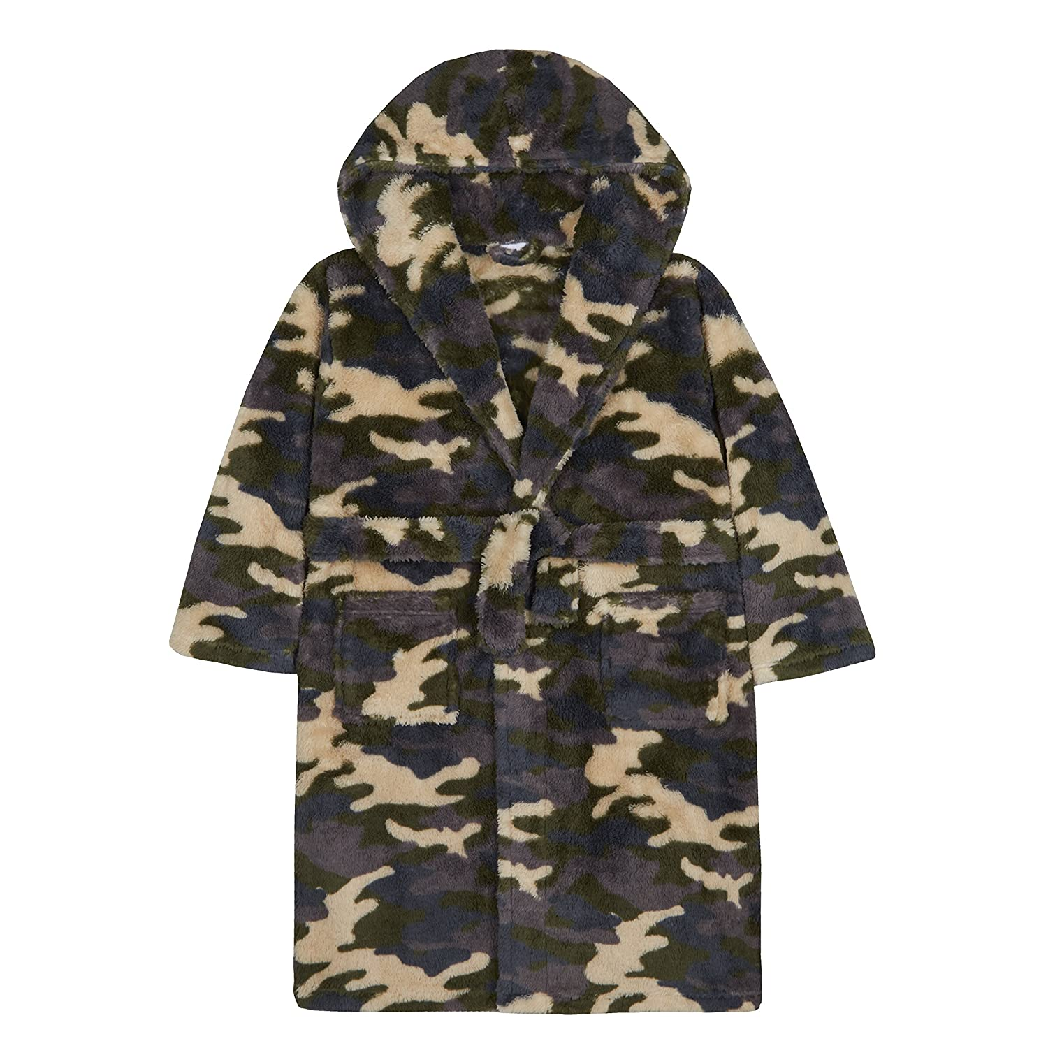 4Kidz Boys Camouflage Hooded Dressing Gown Khaki