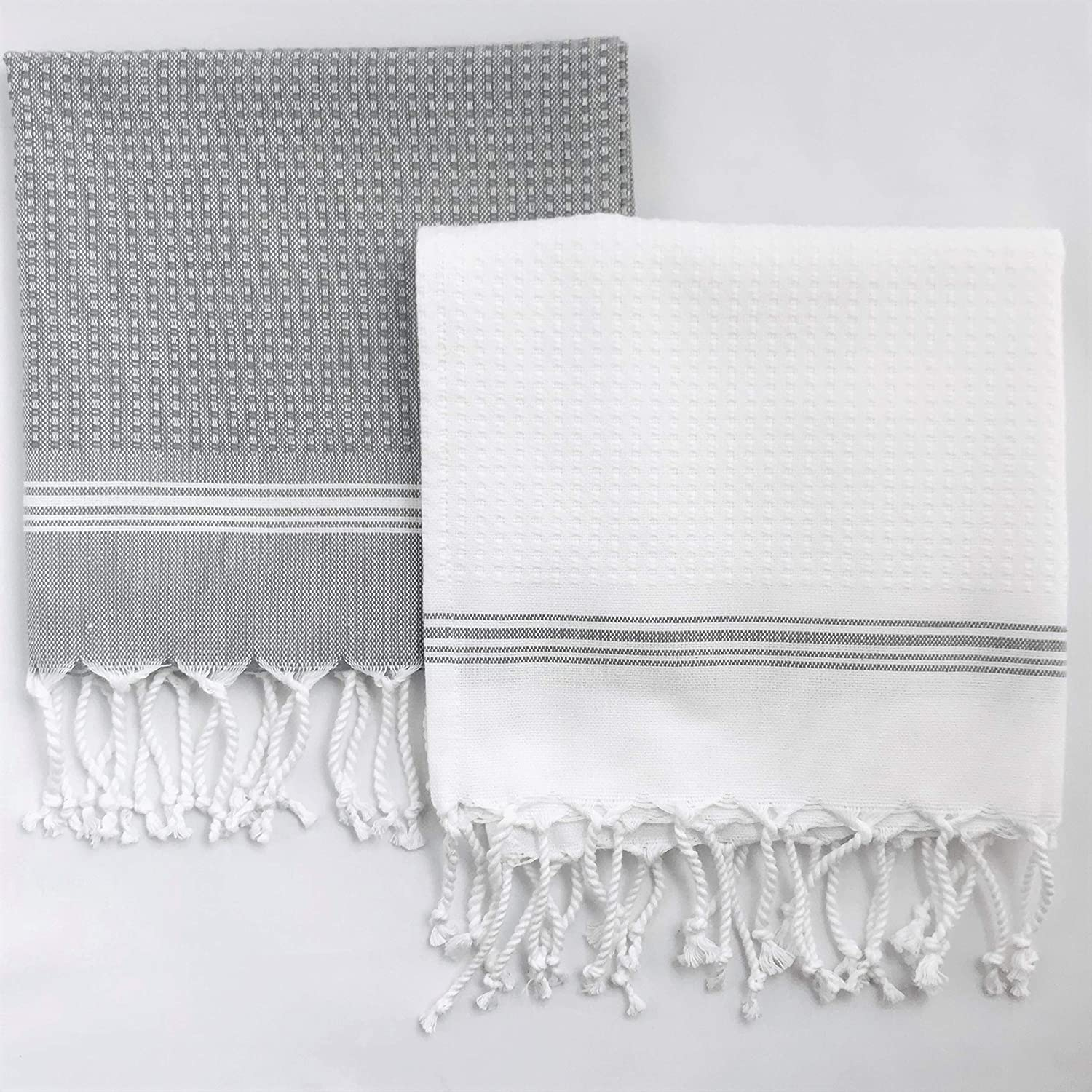 Evopin – Turkish Hand Towels for Bathroom Hair Face Kitchen Towel – 100% Cotton Decorative Striped Towel – Size (18''X35'') – Grey & White Hand Towels, (Set of 2)