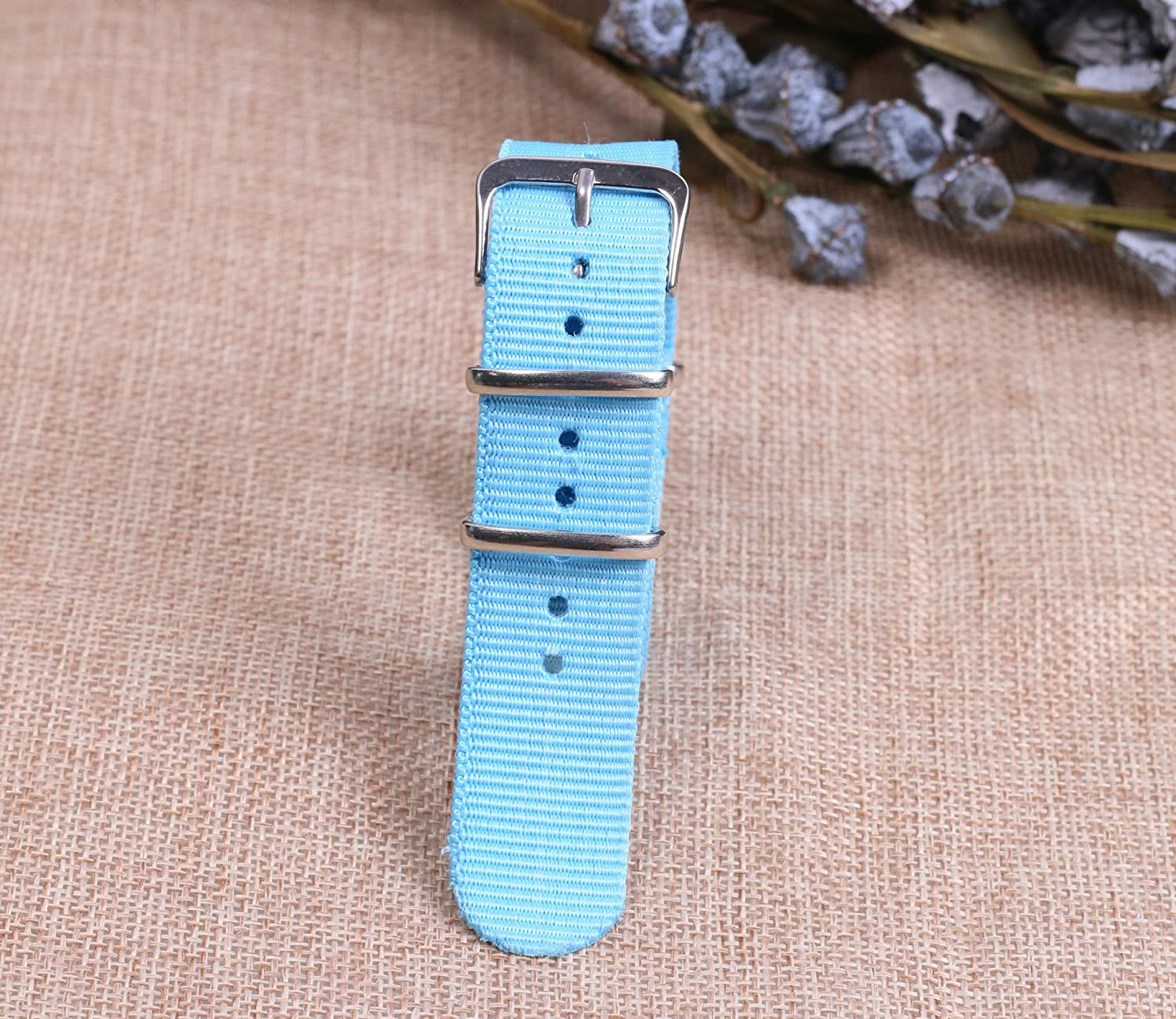 20mm Colorful Classic Breathable Men's One-Piece NATO Style Nylon Watch  Bands Straps for Men Women