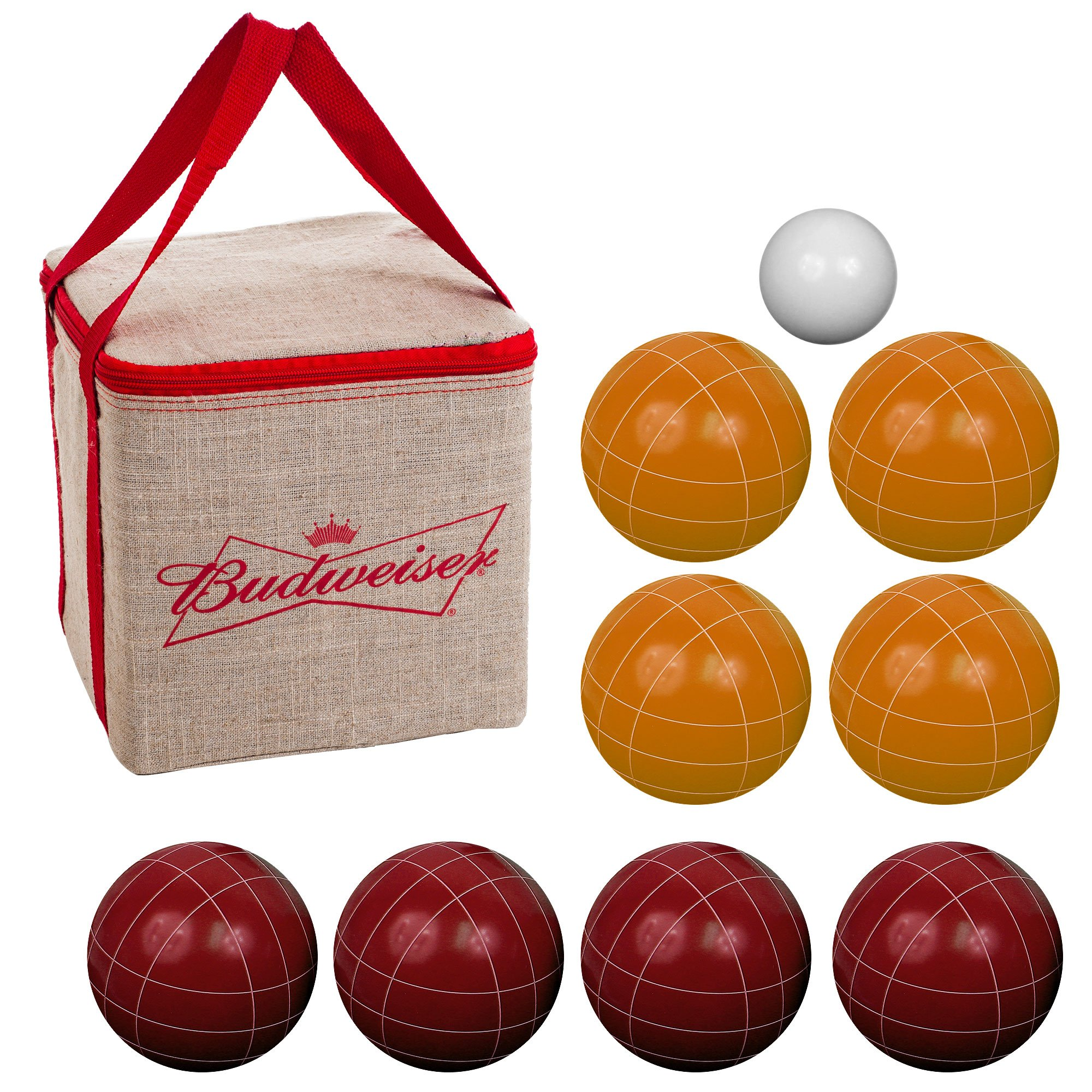 Bocce Ball Set- Budweiser Regulation Outdoor Family Bocce Game for Backyard, Lawn, Beach and More- 8 Balls, Pallino, and Carrying Case by Hey! Play!