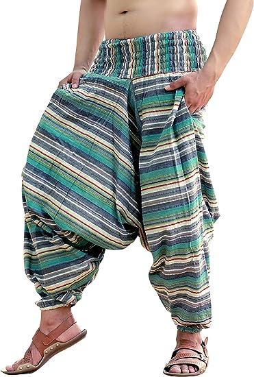 Sarjana Handicrafts Mens Womens Cotton Pockets Harem Pants Drop Crotch Trouser